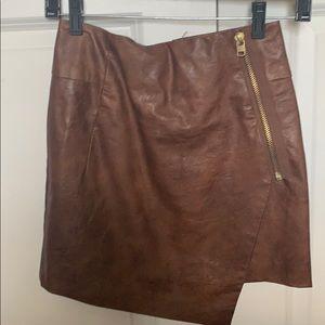 H&M faux brown leather asymmetrical mini skirt